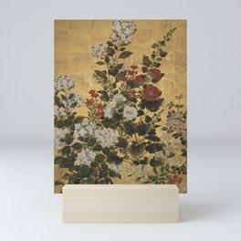 Flowers & Grapes Vintage Japanese Floral Gold Leaf Screen Mini Art Print