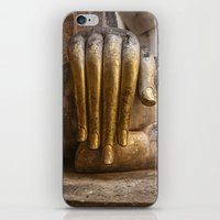 buddhism iPhone & iPod Skins featuring Golden Hand of a Buddha in Wat Sri Chum Thailand by Maria Heyens