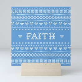 FAITH faux cross stitch sampler on light blue Mini Art Print