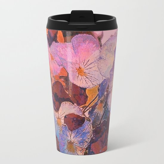 Pansies at Twilight Metal Travel Mug
