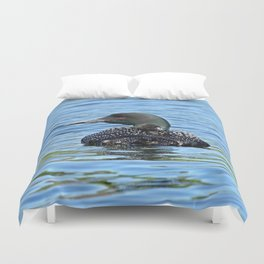 Sleepy time baby loon Duvet Cover