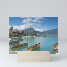 Lake Annecy France city lake boats pier summer Upper Savoy Mini Art Print