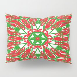 Red, Green and White Kaleidoscope 3376 Pillow Sham