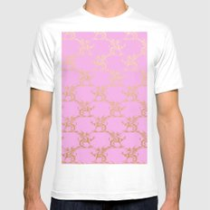 Princess like I - Gold glitter effect lion pattern on pink background #Society6 White Mens Fitted Tee MEDIUM