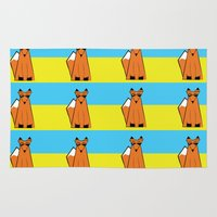 mr fox Area & Throw Rugs featuring Mr Fox by RoyaleWithCheese