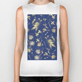 Elegant Gold Blue Passiflora Pattern Biker Tank