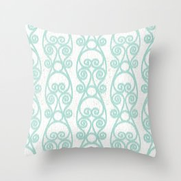 Crackled Scrolled Ikat Pattern - White Blue Throw Pillow