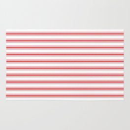 Christmas Red and White Mattress Ticking Bed Stripes Rug