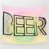 beer Wall Tapestries featuring Beer! by Bunhugger Design