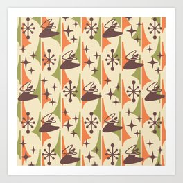 Mid Century Modern Cosmic Boomerang 726 Brown Orange and Green Art Print