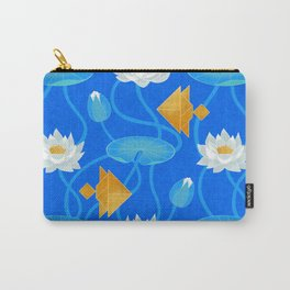 Tangram goldfish and water lilies in blue Carry-All Pouch
