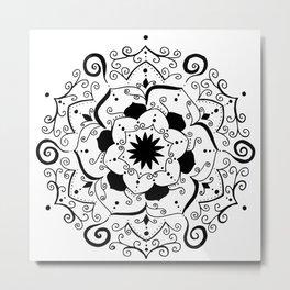 Namsate black mandala on white Metal Print