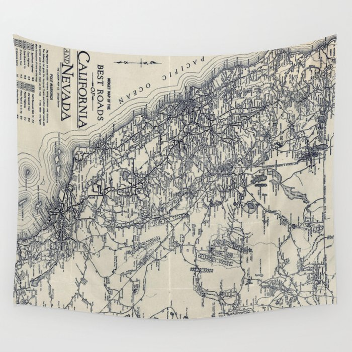 Vintage California and Nevada Road Map (1920) Wall Tapestry