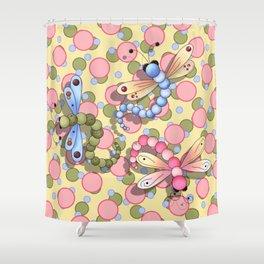 Dragonflies & Polka Dots Shower Curtain