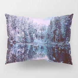 Icy Lavender Blue Winter Wonderland Forest Pillow Sham