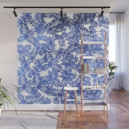 Rowan/ Mountain Ash - Blue metallic on white Wall Mural