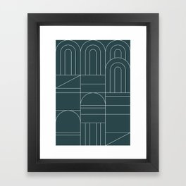 Deco Geometric 04 Teal Framed Art Print