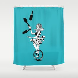 Juggling Unicyclist Shower Curtain