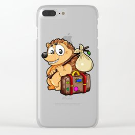Traveling Hedgehog Luggage Baggage Globetrotter Clear iPhone Case