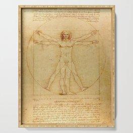 The Vitruvian Man 1405 (L Uomo Vitruviano) Leonardo da Vinci Artwork for Prints Posters Tshirts Men Serving Tray