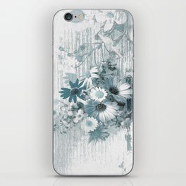 teal flowers on worn wood iPhone Skin