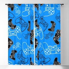 Video Games Blue Blackout Curtain