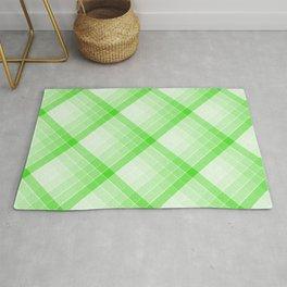 Green Geometric Squares Diagonal Check Tablecloth Rug