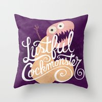 nfl Throw Pillows featuring Lustful Cockmonster by Chris Piascik