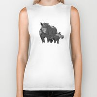 newspaper Biker Tanks featuring Newspaper Rhinoceros by Doolin