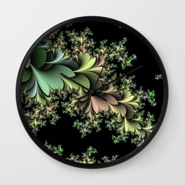 Kale Leaves Fractal Wall Clock