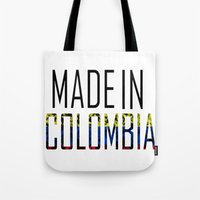 colombia Tote Bags featuring Made In Colombia by VirgoSpice