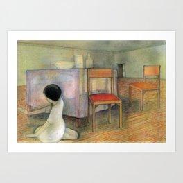 Girl in a House Dinner Room Art Print