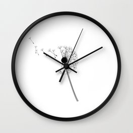 Dandelion Black and White Wall Clock