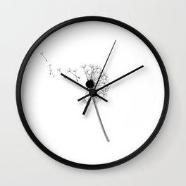 Dandelion Black and White Wall Clock