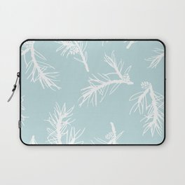 Shortleaf Pine Branch Pattern Blue Background Laptop Sleeve