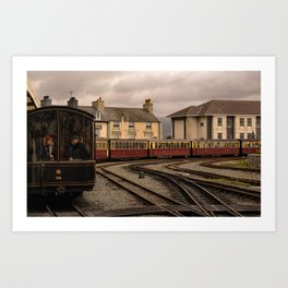 On board a small train for a Sunday outing in Wales Art Print