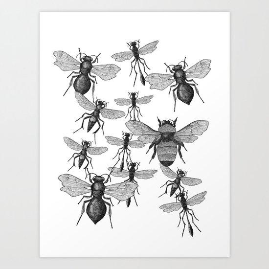 Bees and wasp Flying Art Print