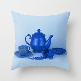 Blue tea party madness - still life Throw Pillow