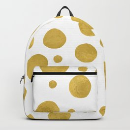 Painted Gold Dots on White Backpack
