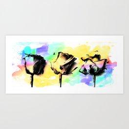 Three Roses Colour Splash Art Print