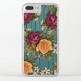 Vintage green wood coral burgundy roses floral Clear iPhone Case