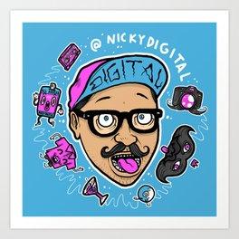 Nicky Digital Caricature by Michael Shantz Art Print