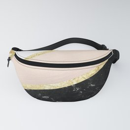 Mint, Blush, White, Black Marble and Gold Stripes Glam #1 #minimal #decor #art #society6 Fanny Pack