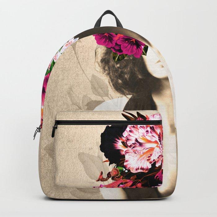 Floral Woman Vintage White Rose Gold Backpack