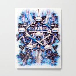 Magick Skull Star Watercolor Metal Print
