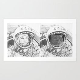 Good Cat's Heroes Include First Woman in Space Valentina Tereshkova Art Print