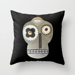 Silver Craft Art Skull Throw Pillow