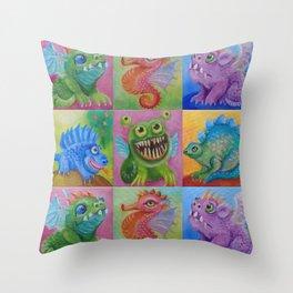 Baby Dragon Funny Monster Comic Illustration Painting for children Nursery decor Throw Pillow
