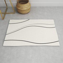 Minimal Wavy Line Art. Beige and Black. Abstract. Rug