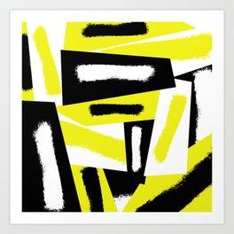 Strokes - Black, white, yellow Art Print